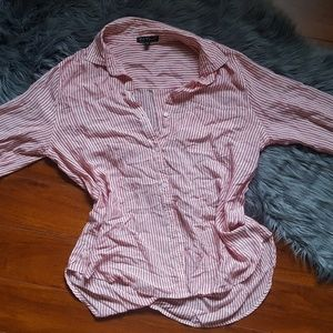 Red & White Striped Linen Button Down